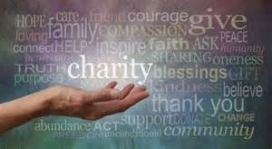 Giving to charity, word cloud