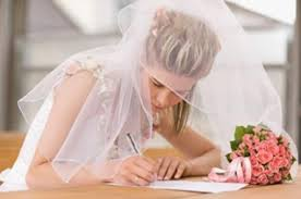 bride writing
