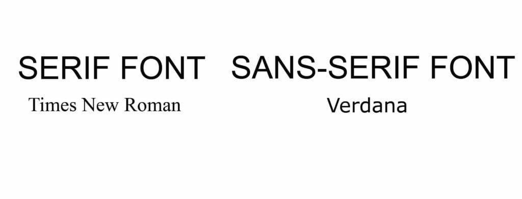 Serif and sans serif fonts
