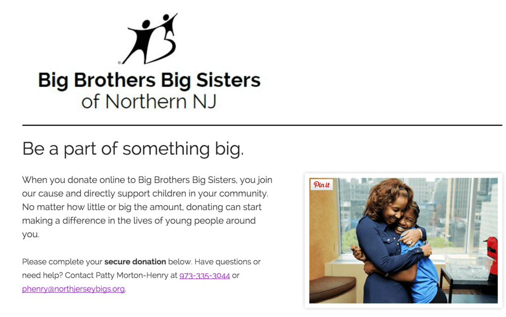 BBBS NJ donation form